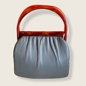 Vintage Etra Leather Bag with Lucite Handles